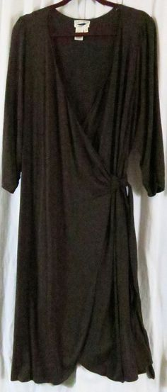 Max Studio Specialty Products Wrap Dress 3XL Brown 3/4 Sleeve Midi V Neck #MaxStudio #WrapDress #AnyOccasion