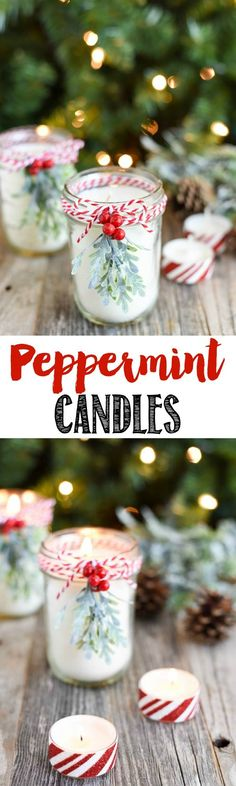 Peppermint Mason Jar Candles DIY Peppermint Candles - you won't believe how easy it is to make your own mason jar candles! These make a great Christmas gift idea!DIY Peppermint Candles - you won't believe how easy it is to make your own mason jar candles! Christmas Candles, Noel Christmas, Homemade Christmas, Diy Christmas Gifts, Holiday Crafts, Christmas Decorations, Room Decorations, Winter Christmas, Christmas Crafts To Sell Make Money