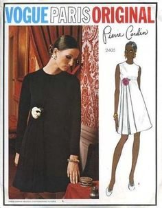 1970s PIERRE CARDIN Lovely Day or Evening Dress Pattern Vogue Paris Original 2405 High Waist Unique Side Attached Loop Steamers Striking Design Bust 34 Vintage Sewing Pattern