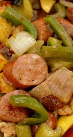 Cajun Stir Fry ~ It combines chicken, andouille sausage, peppers, onions, squash, celery and just the perfect combination of cajun spices!