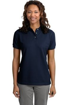 Port Authority Ladies Short Sleeve Cotton Pique Knit Sport Shirt Polo  Navy L420 2XL -- Find out more about the great product at the image link.(This is an Amazon affiliate link and I receive a commission for the sales)