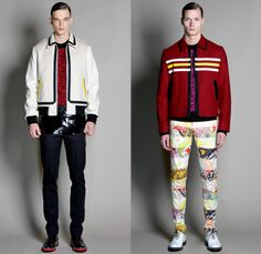 Jonathan Saunders 2014-2015 Fall Autumn Winter Mens Runway Looks Fashion - London Collections - Outerwear Trench Coat Bomber Varsity Jacket Slouchy Harlequin Check Stripes Knit V-Neck Sweater Jumper Scarf Trousers