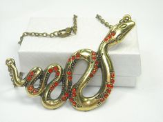 'Antiqued Bronze Red Rhinestone Snake Necklace' is going up for auction at 12pm Sun, Aug 5 with a starting bid of $5.