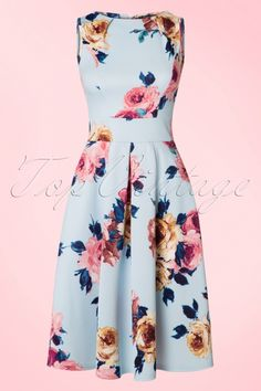 Vintage Chic for TopVintage ~ 50s Veronica Floral Flare Dress in Sky Blue
