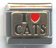 "UBERRY Italian Charm Bracelet Metal Link Brass ""I love CATS"" u144 #UBERRY #ItalianModular"