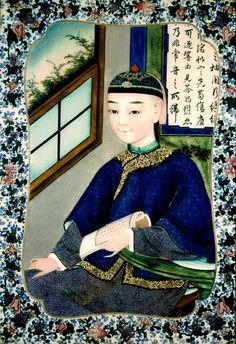 Mandarin Man, ca. 1858 China Reverse painting on glass