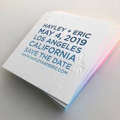 blind impression palm trees, ocean ombré text, and sunset edges. These save the dates are soooo LA! Stationery Items, Wedding Stationery, Wedding Invitations, Invites, Gala Invitation, Letterpress Invitations, Marry Me, Palm Trees, Save The Date