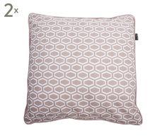 2 Coussins 6-KANT coton, gris et ivoire - 50*50   Westwing Home & Living