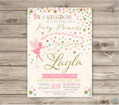 Fairy Birthday Invitation Swirl Pink and Gold Party Glitter Party First Birthday Digital Woodland Garden Invitations Wand Princess NV5681