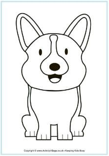 Corgi coloring page to hand out during Fred's therapy visits