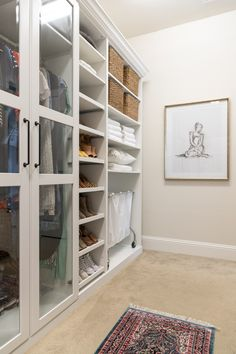 Check out our master walk-in closet makeover using IKEA PAX. By adding trim and giving it a built-in look we saved money and ended up with our dream closet. Ikea Closet System, Ikea Closet Hack, Ikea Closet Organizer, Closet Hacks, Closet Organization, Closet Storage, Storage Room, Storage Ideas, Bedroom Turned Closet