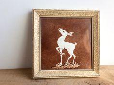 Hand Painted Tile Vintage 1952 Signed Deer Tile Framed Wall