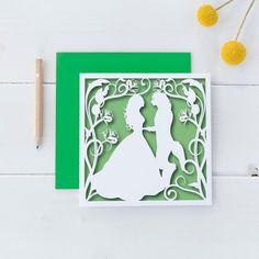 A beautiful print of my delicate hand cut papercut depicting a scene from 'Beauty and the Beast' on FSC certified, quality card, which has a silk finish on the outside and a matte finish on the inside.