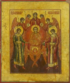 Synaxis of the Archangel Michael and the Other Heavenly Bodiless Powers, Russian, 19th century, gesso, tempera and gold on wood panel, 22.2 x 18.5 cm