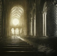 Anja Percival, Cathedral Light IX, Etching, 40 x 40 cm, Edition: 75 Durham Cathedral, Japanese Prints, Woodblock Print, Contemporary Artists, Painting & Drawing, Printmaking, Notre Dame, Concept Art, Fine Art