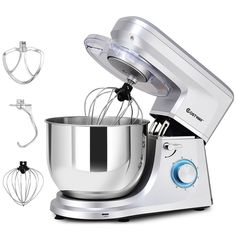Tilt-Head Stand Mixer Qt 6 Speed with Dough Hook, Whisk & Beater White Tidy Kitchen, Kitchen Aid Mixer, Bread Mixer, Electric Foods, Food Stands, Stainless Steel Bowl, Best Blenders, Head Stand, Stand Mixer