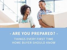 A creative template for a first-time buyers post. A background image of a couple moving boxes with a light blue textbox displaying 'Are you prepared?