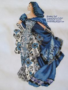 """Beverly's Cross-Stitch Finishes: Mirabilia """"Red""""... Blue conversion. Started June 14th, 2015. Finished August 27th, 2015. Stitched on Sparklies Slightly Stormy 32 ct Murano"""