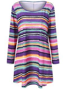 d69304e879f Plus Size Rainbow Striped Longline Top - COLORMIX XL Fashion Sale
