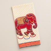 Red Elephant Decorative Tea Towel