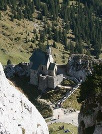 The foundation stone of the Wendelstein Church (Wendelsteinkircherl) was laid on 1 July 1889 on a rocky ridge a hundred metres below the summit. On 20 August 1890 Germany's highest church was consecrated. It is dedicated to the Patrona Bavariae.