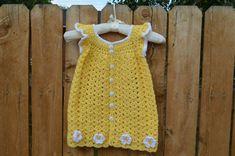 Crochet Toddler Dress.  Yellow Baby Girl Dress, Angel Wings Girls Dress,  Handmade Yellow Daisy Dress by FuzzyStitchesCrochet on Etsy