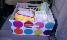"""For the car (but put in a plastic container with a lid) extra wipes cloth and disposable diapers 2 outfits 2 plastic bag (for dirty diapers) hand sanitizer a blanket 2 packs of """"on the go"""" formula bibs burp cloths Disney Cars Birthday, Cars Birthday Parties, Preppy Car Accessories, Movie Gift, Disposable Diapers, Niece And Nephew, Baby Kids, 3 Kids, Burp Cloths"""