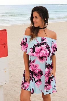 Mint and Purple Floral Off Shoulder Short Dress | Maxi Dresses – Saved by the Dress