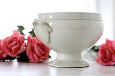 Vintage French covered serving 19th century. French vintage white antique tureen 19th. French vintage tureen.Tureen CHOISY LE ROY 19th. by Passesimple on Etsy https://www.etsy.com/listing/229518087/vintage-french-covered-serving-19th