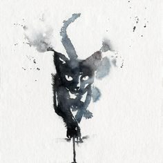 Just Pinned to CatMeows: Black cat in watercolour. High quality reproductions of my original paintings. I spent a lot of time finding the perfect printer to handle my drawings. Years of experience fast and professional. After a thorough touch up of the d Watercolor Paintings, Original Paintings, Cat Watercolour, Watercolor Cat Tattoo, Black Cat Tattoos, Black Cat Art, Black Cats, Drawn Art, Cat Drawing
