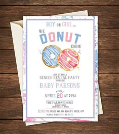 22 best Ideas for baby reveal cake twins party planning Gender Reveal Themes, Gender Reveal Photos, Gender Reveal Decorations, Gender Reveal Invitations, Party Invitations, Invitation Cards, Gender Party, Baby Gender Reveal Party, Donuts