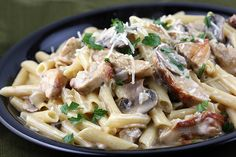 2 boneless skinless chicken breasts  1 package fresh mushrooms (sliced)  1 onion (diced)  3 garlic cloves (minced)  ¾ cup Marsala cooking wine  ½ cup chicken broth  ½ cup heavy cream  1lb penne pasta  1 cup parmesan cheese  5 tablespoons butter  1 tablespoon olive oil  salt and pepper (to taste)  ½ cup fresh Italian parsley (chopped)