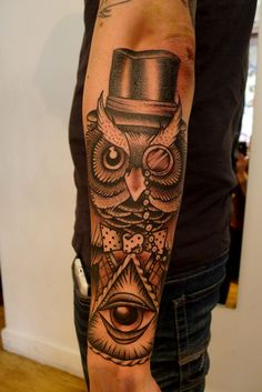 Image detail for -funky owl to fill up colin s forearm space fun