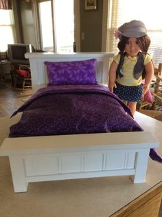 """American Girl Doll or 18"""" Doll bed with Bedding(Beautiful Purple)"""