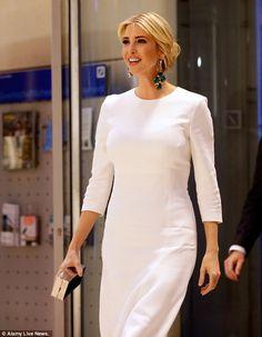 9fe34565327 Ivanka Trump donned an elegant white dress while attending a gala dinner at  Deutsche Bank .