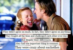 """""""They didn't agree on much. In fact, they didn't agree on anything. They fought all the time and challenged each other every day. But despite their differences, they had one important thing in common. They were crazy about each other."""" -The Notebook"""