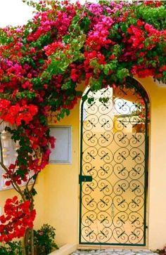 Diy Pergola, Beautiful Gardens, Beautiful Flowers, Beautiful Boys, Simply Beautiful, Deco Nature, Unique Doors, Garden Gates, Garden Entrance