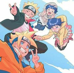 Uzumaki Family Little Naruto and Hinata wearing their kids outfit then Boruto and Himawari wearing their parents young versions outfits. Anime Naruto, Naruto Und Hinata, Naruto E Boruto, Hinata Hyuga, Naruto Art, Inojin, Uzumaki Family, Naruto Family, Boruto Naruto Next Generations