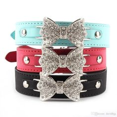 Dress up your pooch in this Crystal Bow Leather collar Once this Product reaches 100 items sold it will return to the Original Price