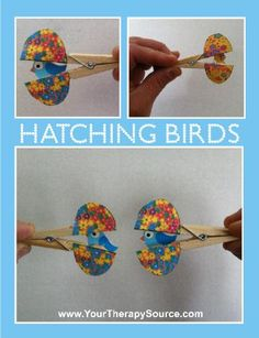 How cute are these?  Hatching birds inside clothes pins.