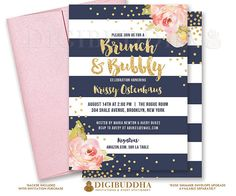 Navy & gold Brunch & Bubbly bridal shower invitations with boho chic pink watercolor peonies and gold glitter confetti dots. Rose shimmer envelopes also available. by Digibuddha Invitation + Paper Co. Sweet Sixteen Invitations, Brunch Invitations, Pink Invitations, Invitation Paper, Printable Invitations, Bridal Shower Invitations, Birthday Invitations, Glitter Confetti, Gold Glitter