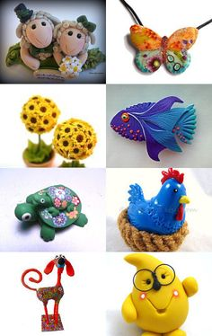 Really cute polymer clay creations by various artists on Etsy.  Including @trina bates Prenzi & @KatersAcres