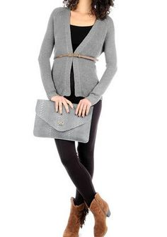 Grey Long Sleeve Knitted Cardigan via Plus Size Online Clothing Store. Click on the image to see more!