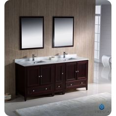 "Fresca FVN20-301230MH Oxford 72"" Traditional Double Sink Bathroom Vanity Mahogany - eFaucets.com"