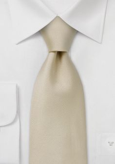 Solid Cream Color Silk Tie