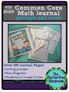 4th Grade Common Core Math Journal   Clutter-Free Classroom   {4}