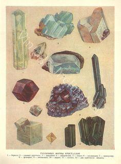 Vintage Print MINERALS CHART European Plate by VintageInclination