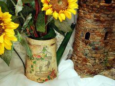 """Купить Лейка """"Романтика"""" - комбинированный, лейка декупаж, лейка, лейка для цветов, ваза, ваза для цветов"""