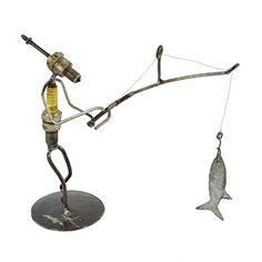 Recycled Spark Plug Fisherman Metal Sculpture