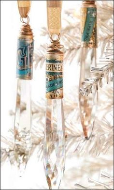 Christmas ornaments made from chandelier crystals, bullet shell casings, and recycled tin. By Melinda Barnett. Featured in the Winter 2014 issue of GreenCraft magazine.